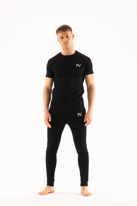 Black short sleeve & Slim jogger Loungewear set