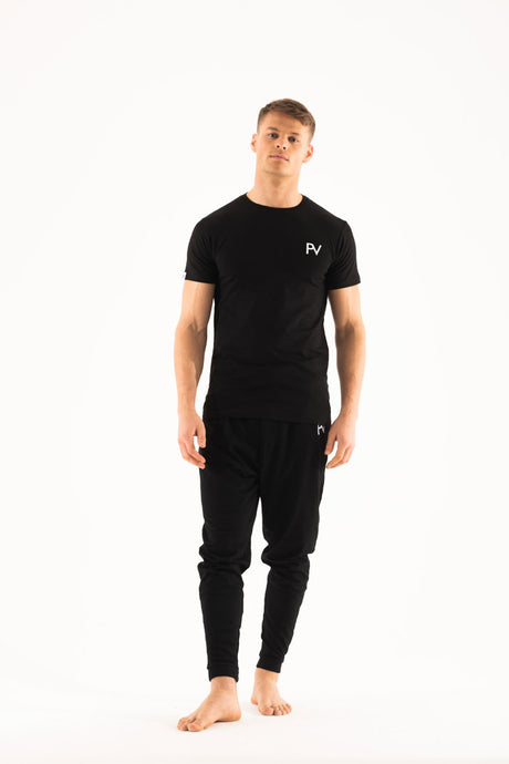 Black short sleeve & Drop crotch  Loungewear set