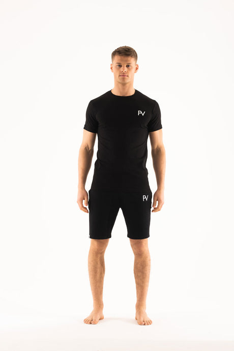 Black short sleeve & Shorts Loungewear set