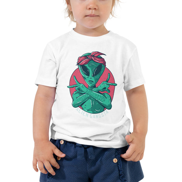 kid Alien gangsta Toddler Short Sleeve Tee - Khakithreads