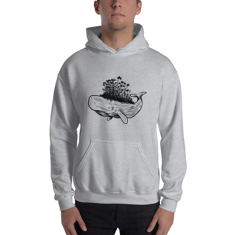 men whale forest Hooded Sweatshirt - Khakithreads