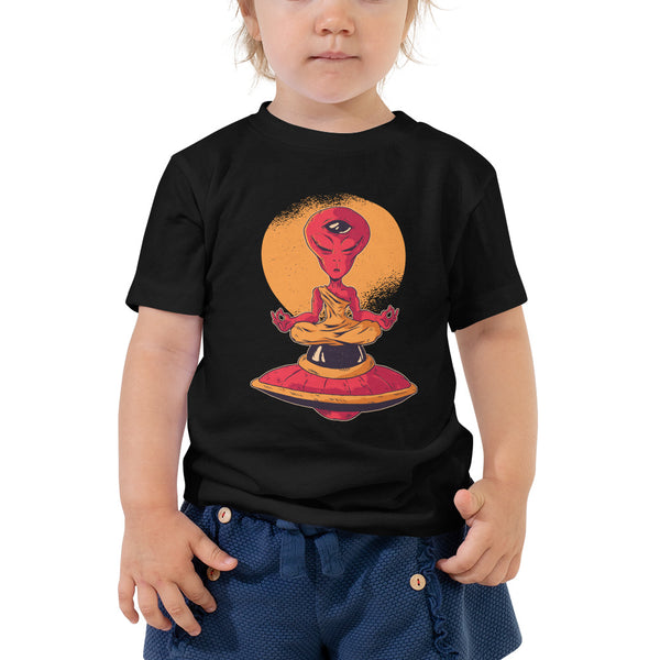kid funny alien meditation Toddler Short Sleeve Tee - Khakithreads