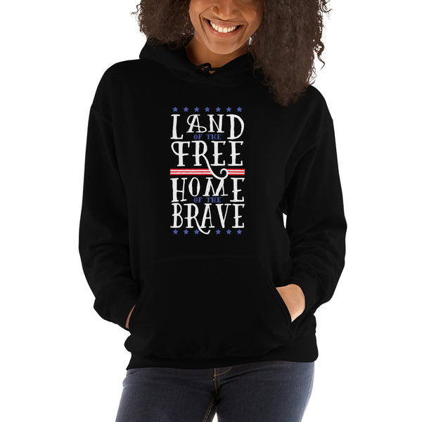 women land of free home of brave Hooded Sweatshirt