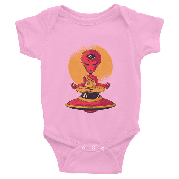 infant funny alien meditation Infant Bodysuit - Khakithreads