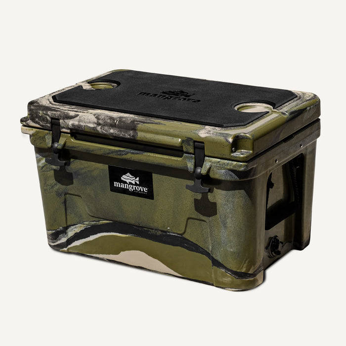 Mangrove Outdoors 45L & 50L Cooler with Cutting Board Divider, Dry Goods Basket, Cup-Holder, Icebox, Chilly-Bin, Camping, Fishing, Boating, Camo-Cooler