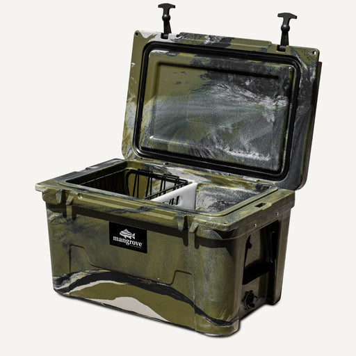 Mangrove Outdoors 45L & 50L Esky Lid with Cutting Board Divider, Dry Goods Basket, Cup-Holder, Cooler, Icebox, Chilly-Bin, Camping, Fishing, Boating, Camo-Cooler