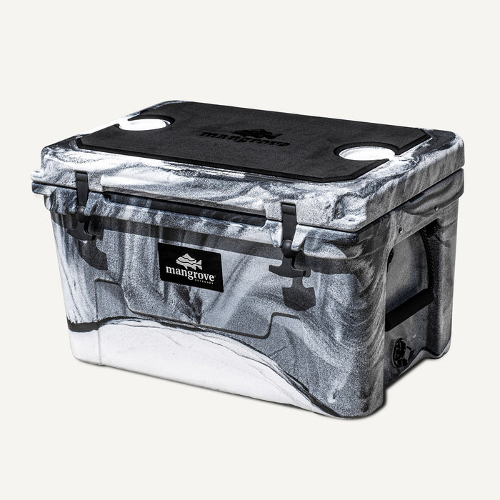 Mangrove Outdoors 45L & 50L Cooler with Cutting Board Divider, Dry Goods Basket, Cup-Holder, Icebox, Chilly-Bin, Camping, Fishing, Boating, Camo-White