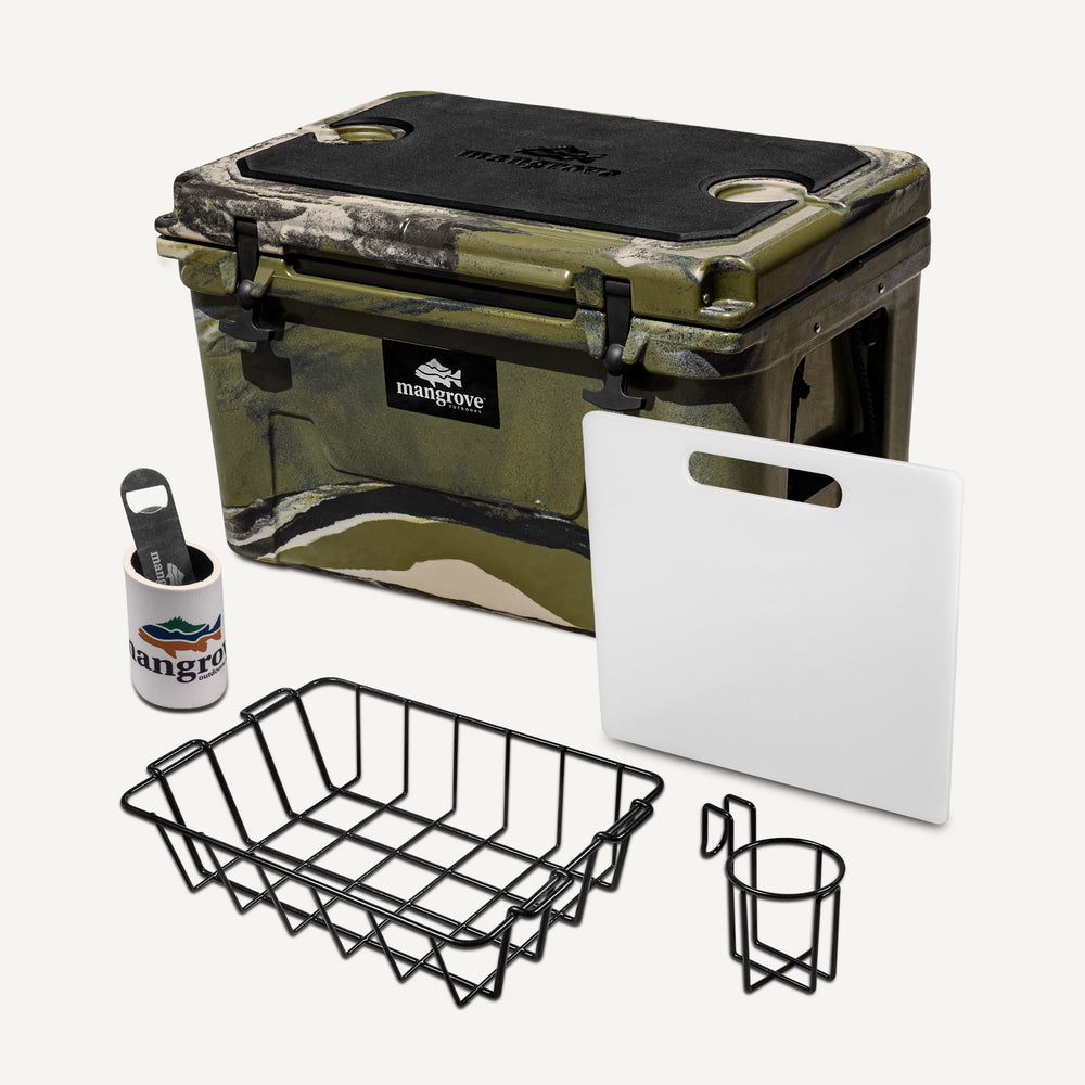 Mangrove Outdoors 45L & 50L Esky with Cutting Board Divider, Dry Goods Basket, Cup-Holder, Cooler, Icebox, Chilly-Bin, Camping, Fishing, Boating, Camo-Cooler