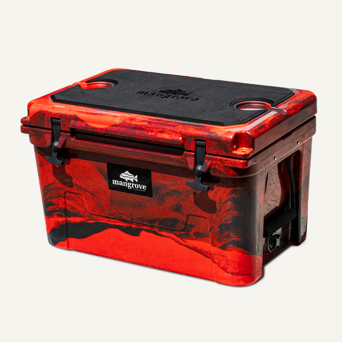 Mangrove Outdoors 45L & 50L Cooler with Cutting Board Divider, Dry Goods Basket, Cup-Holder, Icebox, Chilly-Bin, Camping, Fishing, Boating, Camo-Red