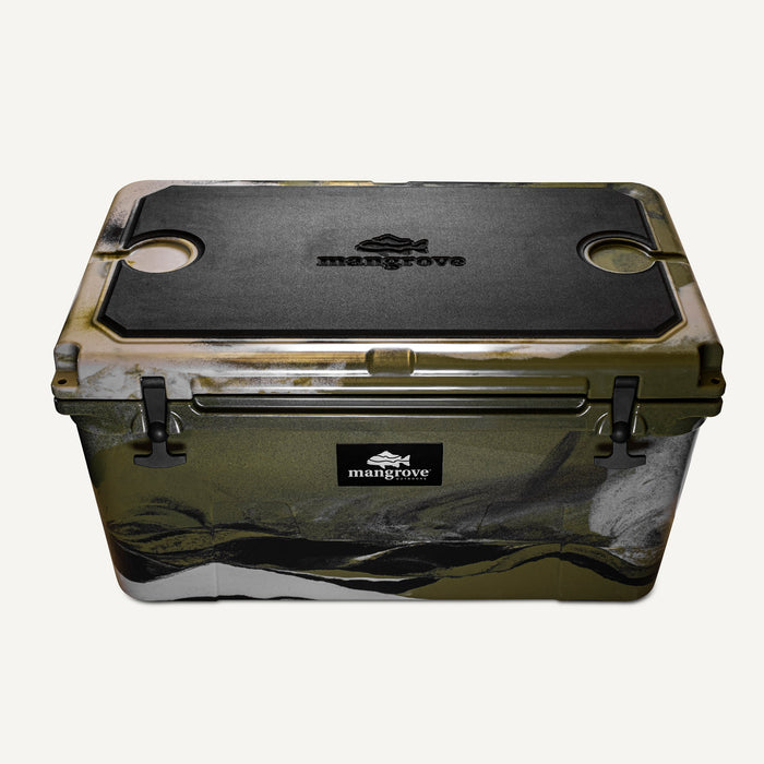 Mangrove Outdoors 45L & 50L Esky Seat Cushion with Cutting Board Divider, Dry Goods Basket, Cup-Holder, Cooler, Icebox, Chilly-Bin, Camping, Fishing, Boating, Camo