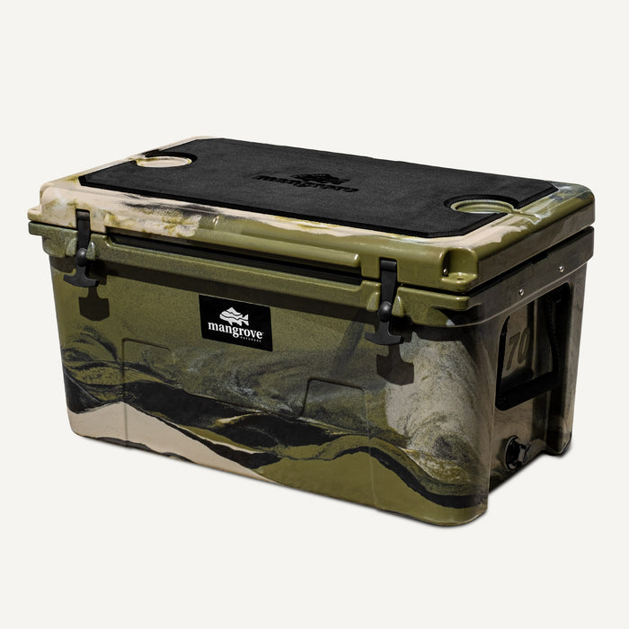 Mangrove Outdoors 45L & 50L Cooler with Cutting Board Divider, Dry Goods Basket, Cup-Holder, Icebox, Chilly-Bin, Camping, Fishing, Boating, Camo