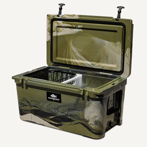 Mangrove Outdoors 45L & 50L Esky Lid with Cutting Board Divider, Dry Goods Basket, Cup-Holder, Cooler, Icebox, Chilly-Bin, Camping, Fishing, Boating, Camo