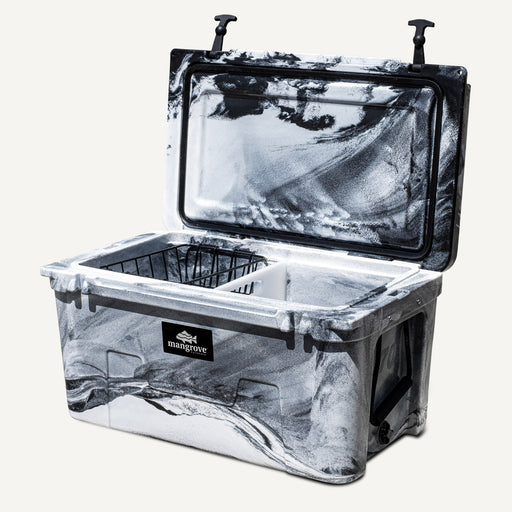 Mangrove Outdoors 45L & 50L Esky Lid with Cutting Board Divider, Dry Goods Basket, Cup-Holder, Cooler, Icebox, Chilly-Bin, Camping, Fishing, Boating, Camo-White