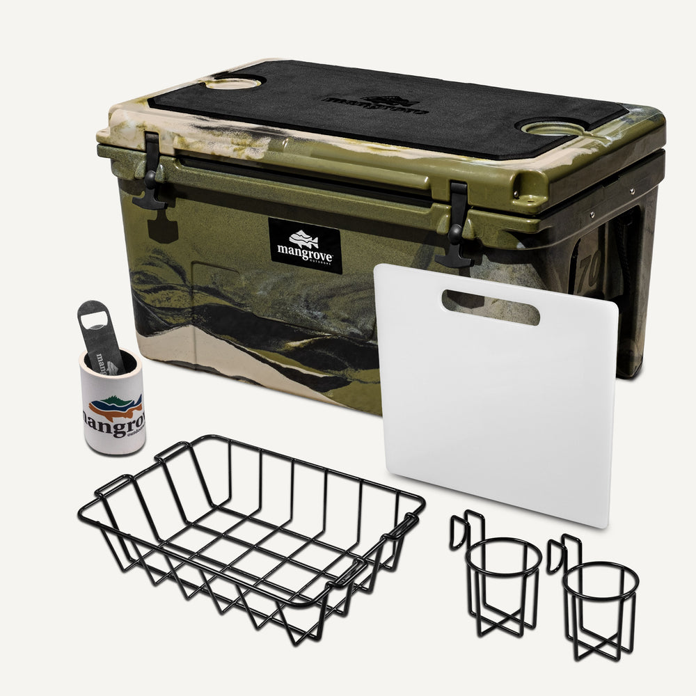 Mangrove Outdoors 45L & 50L Esky with Cutting Board Divider, Dry Goods Basket, Cup-Holder, Cooler, Icebox, Chilly-Bin, Camping, Fishing, Boating, Camo