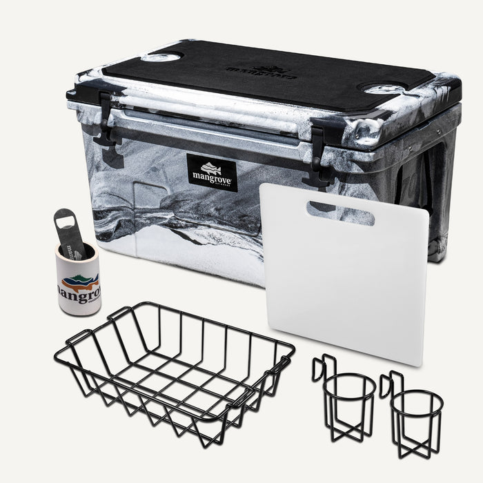 Mangrove Outdoors 45L & 50L Esky with Cutting Board Divider, Dry Goods Basket, Cup-Holder, Cooler, Icebox, Chilly-Bin, Camping, Fishing, Boating, Camo-White