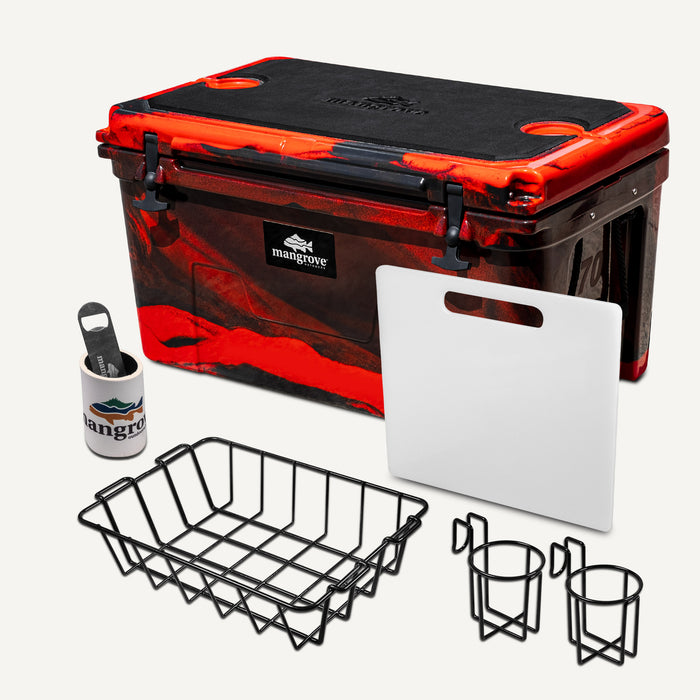 Mangrove Outdoors 45L & 50L Esky with Cutting Board Divider, Dry Goods Basket, Cup-Holder, Cooler, Icebox, Chilly-Bin, Camping, Fishing, Boating, Camo-Red