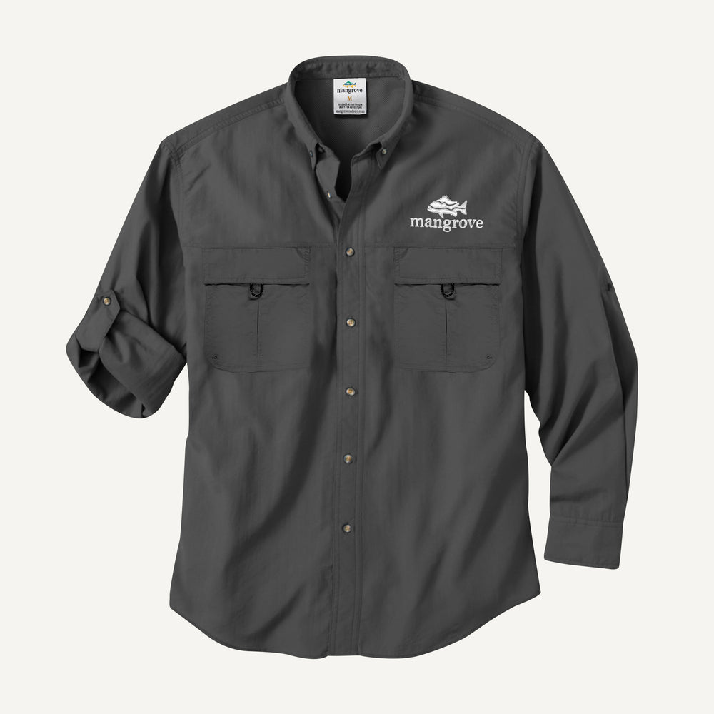Mangrove Outdoors VentDry Fishing and Camping Shirt, UV Safe SPF30+, fishing-shirt, lightweight, Charcoal-Colour