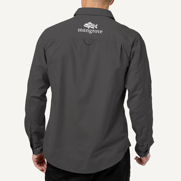 Mangrove Outdoors VentDry Fishing and Camping Shirt, UV Safe SPF30+, fishing-shirt, lightweight, Charcoal-Colour back view