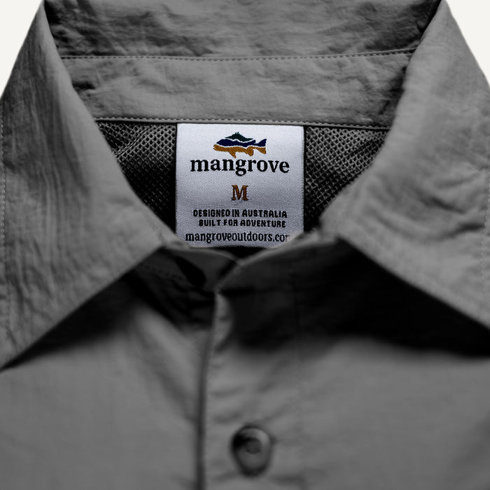 Mangrove Outdoors VentDry Fishing and Camping Shirt, UV Safe SPF30+, fishing-shirt, lightweight, Charcoal-Colour, Tag