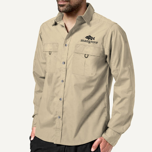 Mangrove Outdoors VentDry Fishing and Camping Shirt, UV Safe SPF30+, fishing-shirt, lightweight, Sand-Colour, Front View
