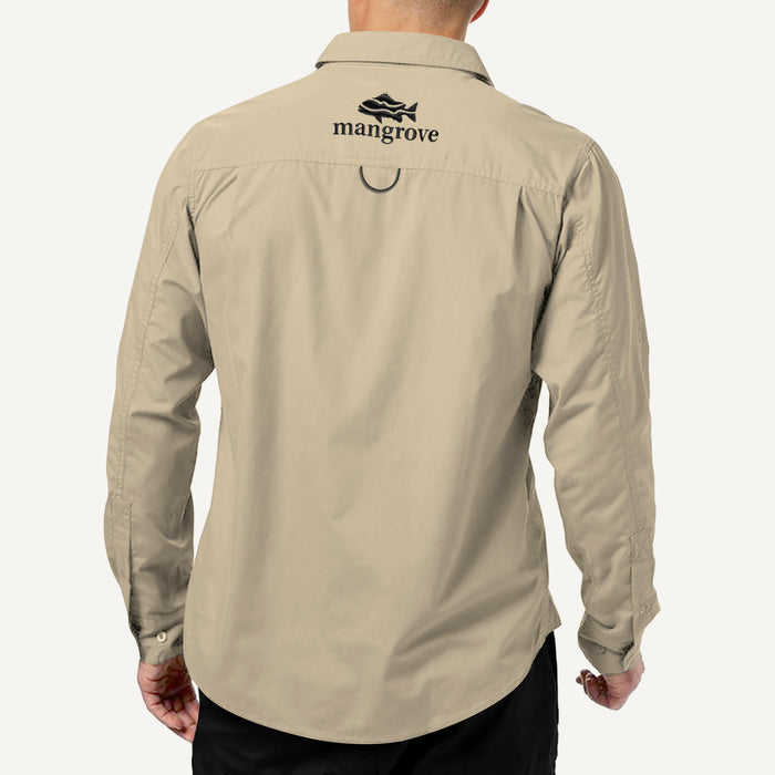 Mangrove Outdoors VentDry Fishing and Camping Shirt, UV Safe SPF30+, fishing-shirt, lightweight, Sand-Colour Back View