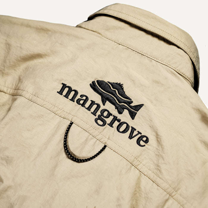 Mangrove Outdoors VentDry Fishing and Camping Shirt, UV Safe SPF30+, fishing-shirt, lightweight, Sand-Colour, Embroidery