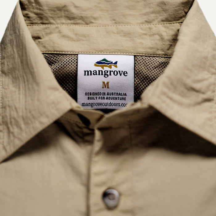 Mangrove Outdoors VentDry Fishing and Camping Shirt, UV Safe SPF30+, fishing-shirt, lightweight, Sand-Colour, Tag