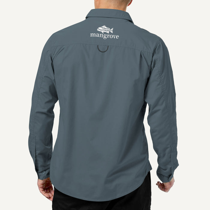 Mangrove Outdoors VentDry Fishing and Camping Shirt, UV Safe SPF30+, fishing-shirt, lightweight, Stone-Blue-Colour, Back View