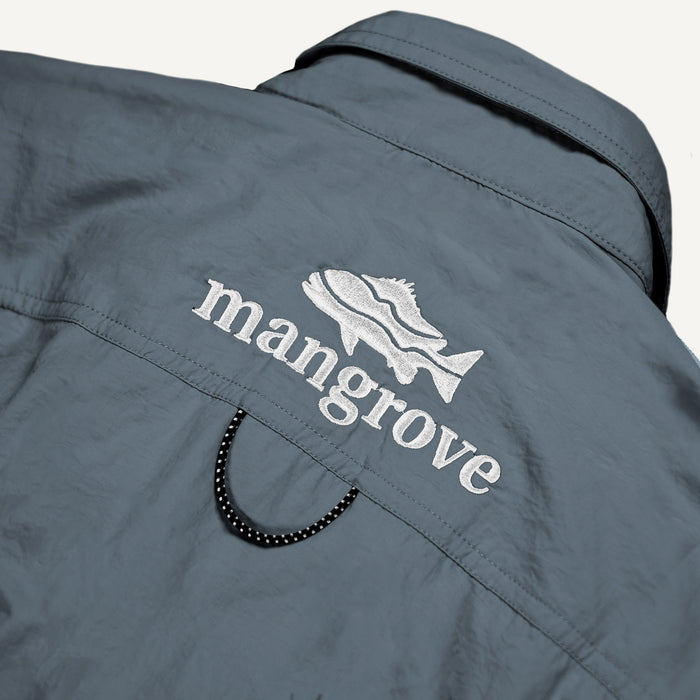 Mangrove Outdoors VentDry Fishing and Camping Shirt, UV Safe SPF30+, fishing-shirt, lightweight, Stone-Blue-Colour, Back Embroidery