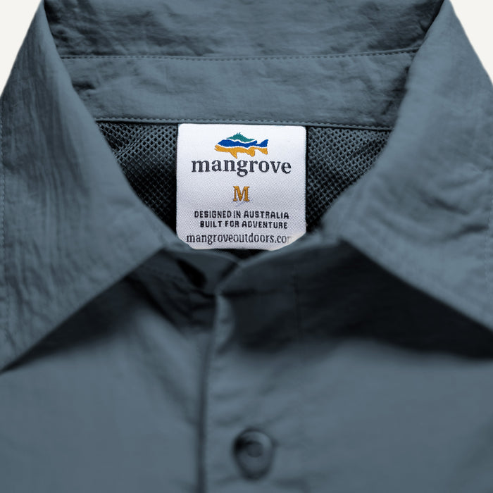 Mangrove Outdoors VentDry Fishing and Camping Shirt, UV Safe SPF30+, fishing-shirt, lightweight, Stone-Blue-Colour, Tag