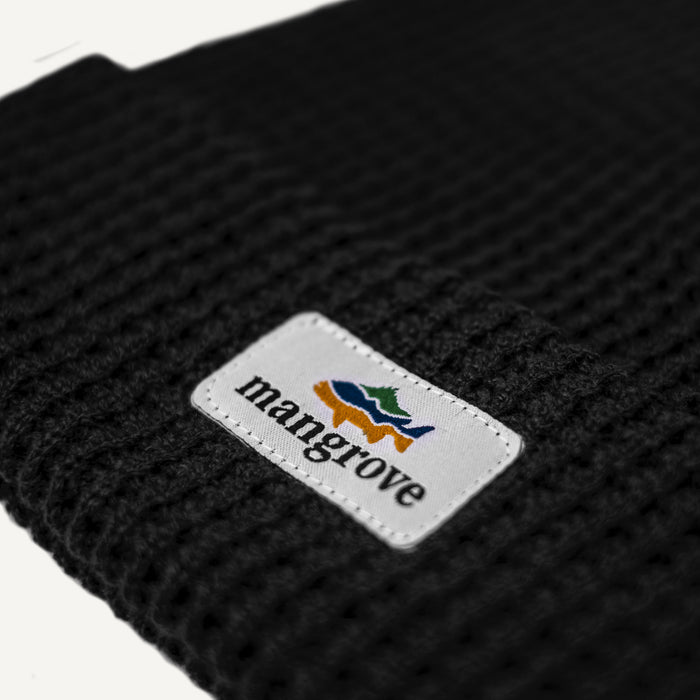 Mangrove Outdoors Black Waffle Beanie Logo Patch