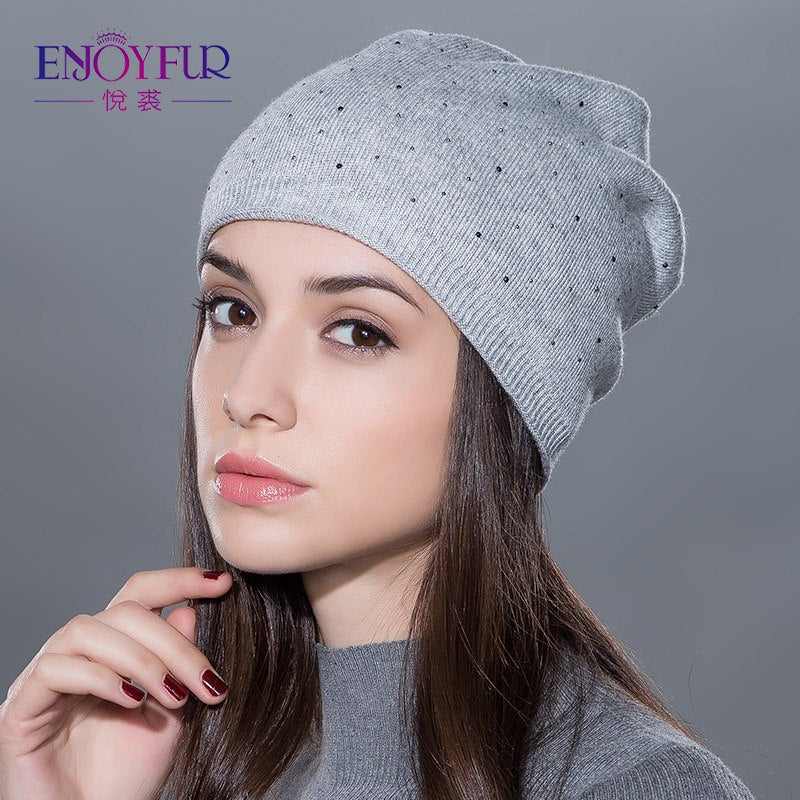 a70666eaed7 Women s winter hat knitted wool beanies female fashion skullies casual  outdoor ski caps thick warm hats