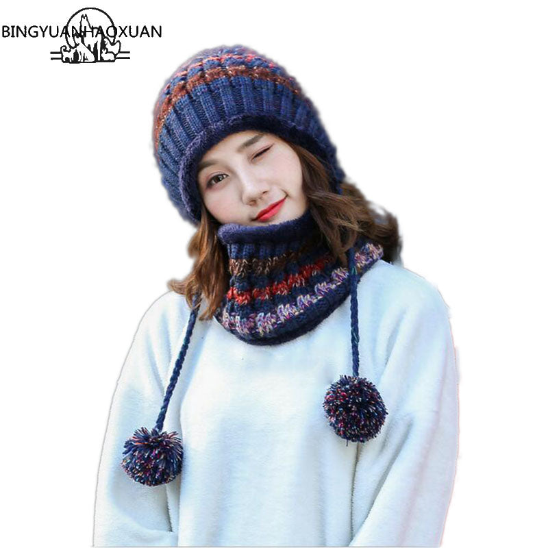 a41154158a9 BINGYUANHAOXUAN 2017 Winter Knitted Hat Women Scarf Caps Mask Gorras Bonnet  Warm Baggy Winter Hats For