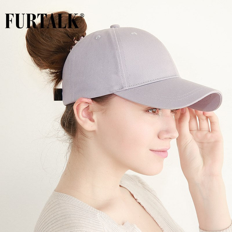 d15c43ba6 FURTALK New Arrivals Ponytail Baseball Cap Women Messy Bun Baseball Hat  Snapback HTPU007