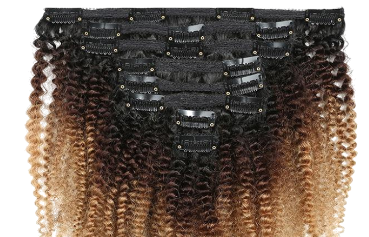 Afro Kinky Curly Clip Ins in Golden Ombre- 3c/ 4a
