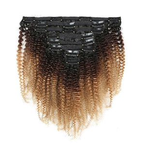Afro Coily Clip Ins in Golden Ombre- 4b/ 4c