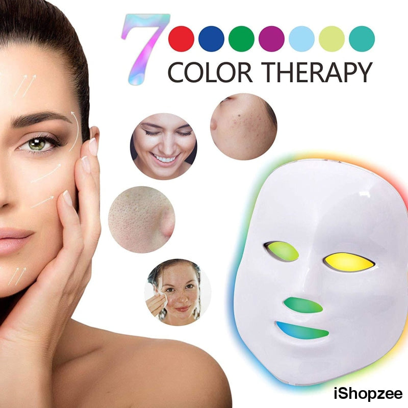 7 Color LED Light Therapy Facial Mask For Anti-aging Acne Treatment Skin Phototherapy - iShopzee