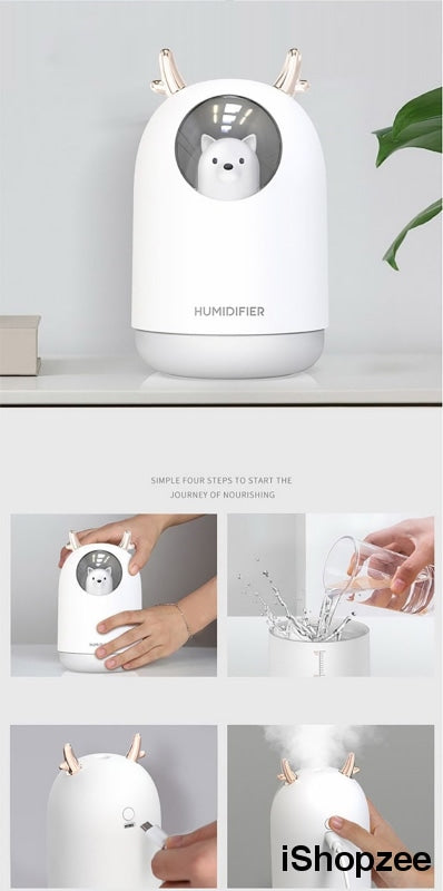Cute USB Mini Humidifier With Night Light - iShopzee