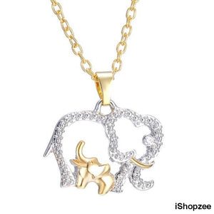 Mommy And Baby Elephant Pendant Necklace - iShopzee