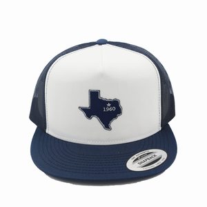 Dallas - Navy and White - Mesh Snapback - Flatbill