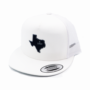 Dallas - White and White - Mesh Snapback - Flatbill