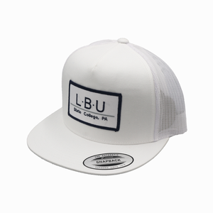 State College / White and White / Flatbill / Mesh Snapback