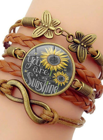 Brown Women's Accessories Sunflower Alloy Bracelet LC01885-17