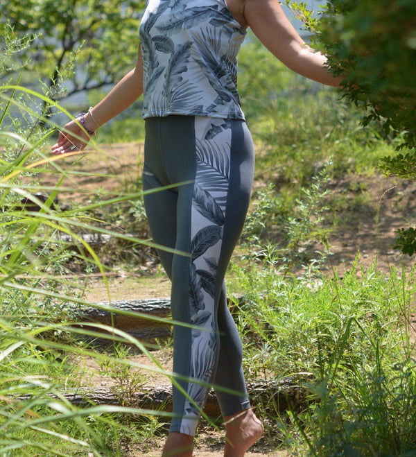 tropical gray leggings