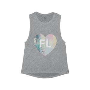 Women's Pink Palm Mermaid FL Heart Tank - Eola Apparel