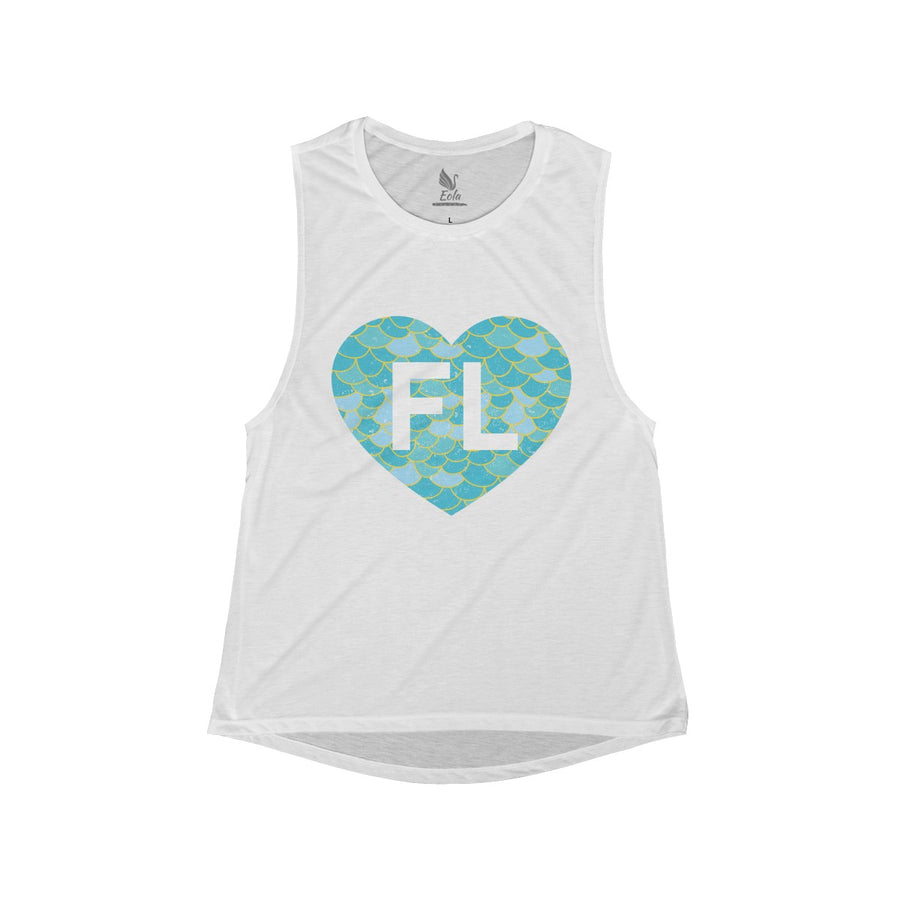 Women's Mermaid Blue FL Heart Tank - Eola Apparel