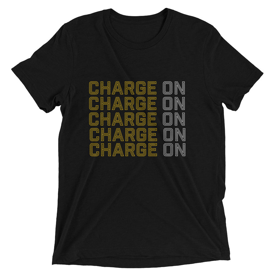 Unisex Black and White Charge on Tee - Eola Apparel