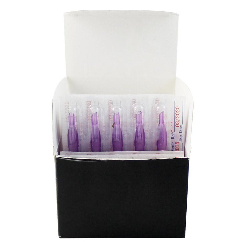 100pcs Flat Sterile Purple Plastic Tattoo Tips - wormholetattoo