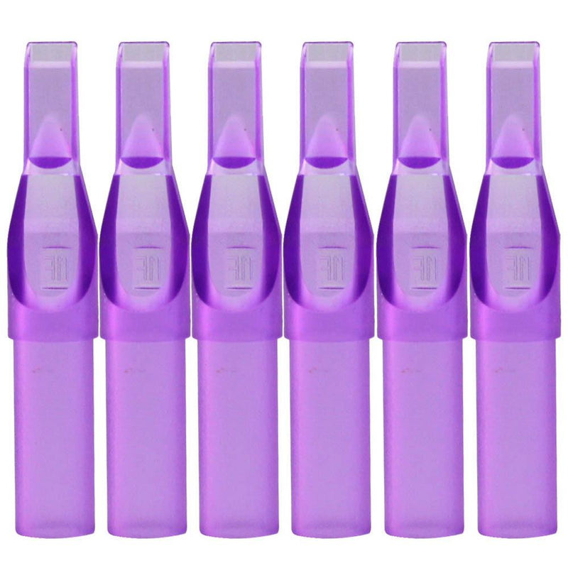 ITATOO 100pcs Flat Tips Tattoo Supply Sterile Purple Plastic Disposable - wormholetattoo