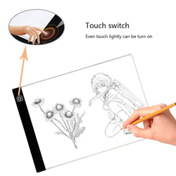 A4 Ultra-Thin LED Tracing Light Box USB Power Cable with Eyesight-Protected 3 Brightness Levels - wormholetattoo
